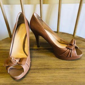 Franco Sarto Victory Tan Peep Toe Pumps Size 8.5